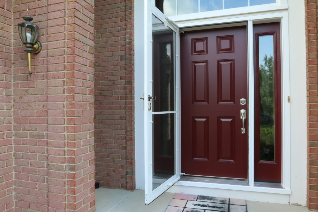 Red Entry Door with Glass