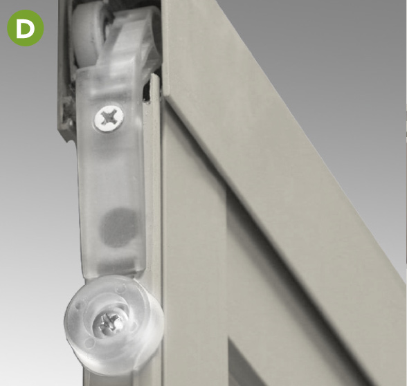 Suspended by ball bearing rollers this top-hung heavy-duty aluminum screen
